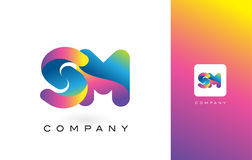 SM de Mooie Kleuren van Logo Letter With Rainbow Vibrant Kleurrijk t Stock Foto