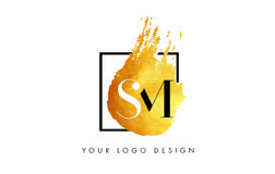 SM gouden Brief Logo Painted Brush Texture Strokes Stock Fotografie