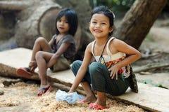 Små kambodjanska flickor Arkivfoto