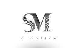 SM Logo Design With Multiple Lines and Black and White Colors. Stock Image