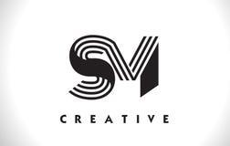 SM Logo Letter With Black Lines Design. Line Letter Vector Illus Stock Images
