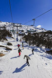 SM Perish Ski Line Down Vertical. Elevated view on active sport people in Perisher valley of Snow Mountains, AUstralia. Snowboarders and skiers are sloping down Stock Images