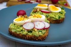 Sm?rg?sar med den nya r?disan f?r avokadoguacamole och det kokta ?gget fotografering för bildbyråer