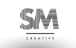 SM S M Black and White Lines Letter Logo Design. Royalty Free Stock Photos