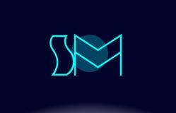 Sm s m blue line circle alphabet letter logo icon template vecto Stock Image