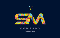 Sm s m colorful alphabet letter logo icon template vector Royalty Free Stock Photography