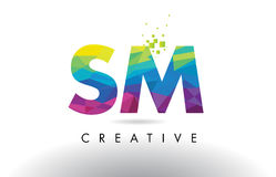SM S M Colorful Letter Origami Triangles Design Vector. Royalty Free Stock Images