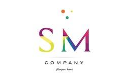 Sm s m  creative rainbow colors alphabet letter logo icon Stock Photos