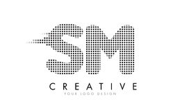 SM S M Letter Logo with Black Dots and Trails. Royalty Free Stock Photography