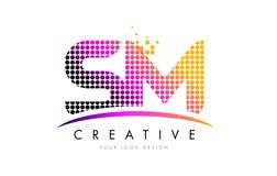 SM S M Letter Logo Design con los puntos magentas y Swoosh Imagenes de archivo