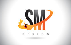 SM S M Letter Logo with Fire Flames Design and Orange Swoosh. Royalty Free Stock Photo