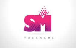 SM S M Letter Logo with Pink Purple Color and Particles Dots Des Stock Photography