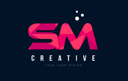 SM S M Letter Logo with Purple Low Poly Pink Triangles Concept Royalty Free Stock Image