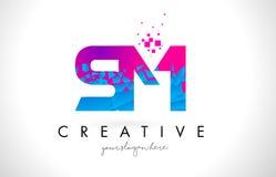 SM S M Letter Logo with Shattered Broken Blue Pink Texture Desig Stock Image