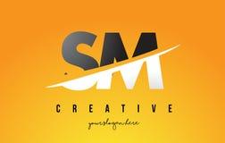 SM S M Letter Modern Logo Design avec le fond jaune et le Swoo illustration de vecteur