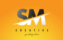SM S M Letter Modern Logo Design with Yellow Background and Swoo Stock Images