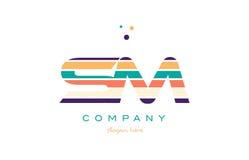 Sm s m line stripes pastel color alphabet letter logo icon templ Royalty Free Stock Image
