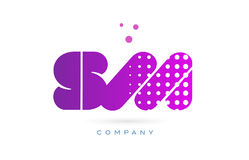 Sm s m pink dots letter logo alphabet icon Stock Photography