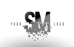 SM S M Pixel Letter Logo with Digital Shattered Black Squares Royalty Free Stock Photo