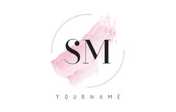 SM S M Watercolor Letter Logo Design with Circular Brush Pattern Stock Image