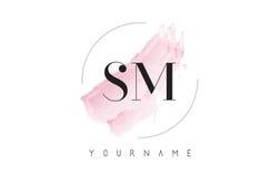 SM S M Watercolor Letter Logo Design con el modelo circular del cepillo Imagen de archivo