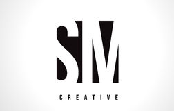 SM S M White Letter Logo Design with Black Square. Royalty Free Stock Photography