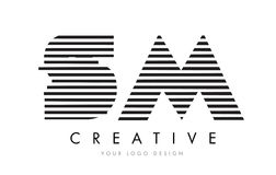 SM S M Zebra Letter Logo Design with Black and White Stripes Royalty Free Stock Photography