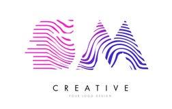 SM S M Zebra Lines Letter Logo Design with Magenta Colors Stock Images