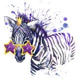 små sebraT-tröjadiagram den lilla sebraillustrationen med färgstänkvattenfärgen texturerade bakgrund ovanlig illustrationwaterc Royaltyfri Bild