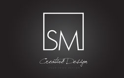 SM Square Frame Letter Logo Design with Black and White Colors. Stock Images