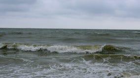Sm? v?gor p? coas i Black Sea n?ra Odessa Kustlinje och att plaska och att krascha, seafoam arkivfilmer