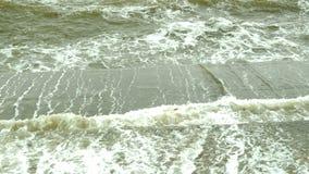 Sm? v?gor p? coas i Black Sea n?ra Odessa Kustlinje och att plaska och att krascha, seafoam stock video