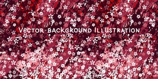 Sm? vita blommor p? texturerad burgundy, rosa och vitmarmorbakgrund stock illustrationer