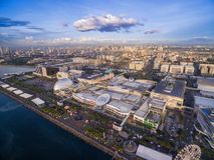 SM wandelgalerij van Azië in Bay City, Pasay, Manilla, Filippijnen Mooie Cityscape en één van de grootste Wandelgalerij in Azië stock foto's