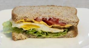 Smażąca Jajeczna kanapka na pszenicznym chlebie Zdjęcia Royalty Free