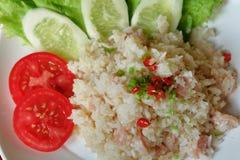 Smażąca ryżowa whit podśmietania wieprzowina Obrazy Stock