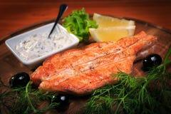 Smażąca stek czerwieni ryba Zdjęcia Stock