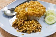 Smażąca wieprzowina z czosnku pieprzem na ryż i omelette Obraz Royalty Free