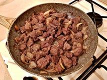Smażąca wołowina z cebulami fotografia stock