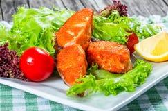 Smażący łosoś z świeżą sałatką, czereśniowym pomidorem i cytryną, Obraz Stock