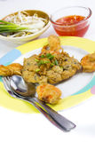 Smażący Calamari breaded słuzyć z kumberlandem Zdjęcie Royalty Free