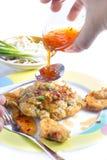 Smażący Calamari breaded słuzyć z kumberlandem Fotografia Stock