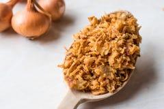 Smażący Crispy Cebulkowi płatki z Drewnianą łyżką Fotografia Royalty Free