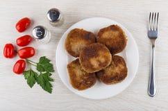 Smażący cutlets w talerzu, czereśniowi pomidory, pietruszka, pieprz, sól Zdjęcia Stock