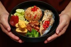 Smażący jaśminowi ryż z krewetkową pastą dzwonią Kao Klok Kapi Obrazy Royalty Free