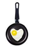 Smażący jajeczny kierowy kształt w niecce Zdjęcie Royalty Free