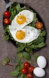 Smażący jajka z świeżymi ziele i czereśniowymi pomidorami przy niecką na brązu tle fotografia royalty free