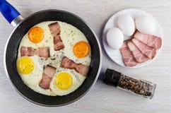 Smażący jajka z brisket w smażyć nieckę, słój z condiment, jajka, brisket w talerzu na stole Odg?rny widok fotografia royalty free