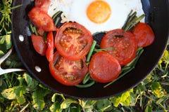 Smażący jajka Z pomidorami Obrazy Royalty Free
