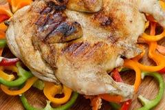 Smażący jedzenie piec na grillu kurczaka na kolorowym tle warzywa Zdjęcia Royalty Free